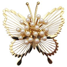 MONET Butterfly Faux Pearl Cluster Vintage Pin