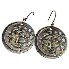 Art Nouveau Revival Dancing Woman, MOON Stars Rhinestone Dangle Earrings