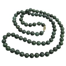 Long 1920's Vintage Hand-Knotted Nephrite Jade Bead Necklace