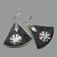 Vintage Mexico Sterling Silver & Alpaca Abalone Shell Dangle Earrings