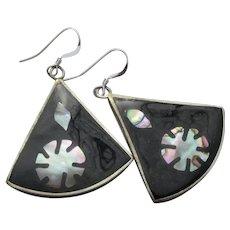 Vintage Mexico Sterling Silver & Alpaca Abalone Shell Dangle Earrings