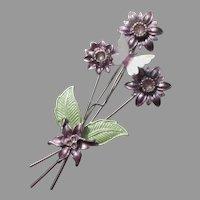 Long Stem Lavender Flowers & Butterfly Vintage Enamel Pin