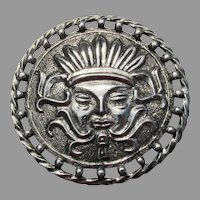 Big Vintage Aztec Face Silver Tone Pin
