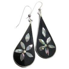 Vintage Mexico Sterling Silver & Alpaca Abalone Shell FLOWER Dangle Earrings