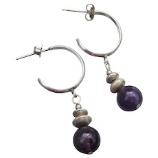 Vintage Sterling Silver Amethyst Dangle Bead Hoop Pierced Earrings