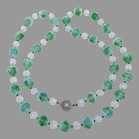 RARE Swarovski Green Givre Bead Long Vintage Necklace