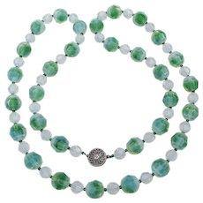 RARE Swarovski Green Givre Bead Long Vintage Necklace
