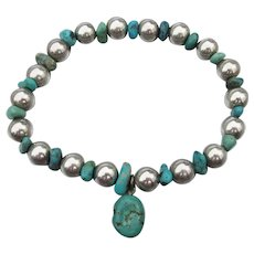 Sterling Silver & Turquoise Bead Stretch Bracelet, Size Large