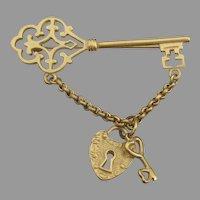 Large Lock & KEY Vintage Dangle Charm Pin
