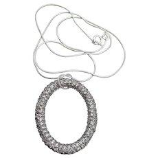 Large Oval CZ Pendant Vintage Sterling Silver Necklace