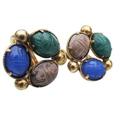 Vintage Natural Stone BAL-RON Carved Scarab Gold Filled Earrings