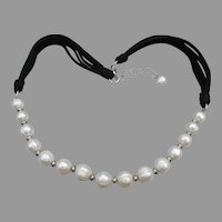 Honora White Ringed Freshwater Pearl & Black Suede Necklace