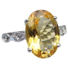 5 Ct. Oval Citrine & White Topaz Sterling Silver Ring, Size 7