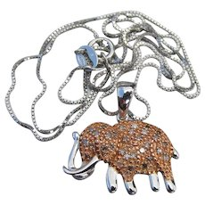 Affinity Sterling Silver DIAMOND Elephant Pendant Necklace, NEW In Box!