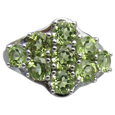 Beauty! Peridot Cluster Sterling Silver Vintage Cocktail Ring, Size 7