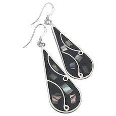 Vintage Mexico Sterling Silver & Alpaca Abalone Abstract Dangle Earrings