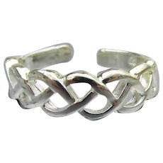 Braided Sterling Silver Pinky or Toe Adjustable Vintage  Ring