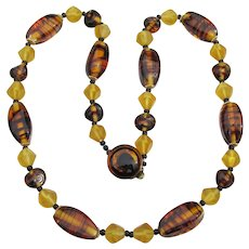 1950's Japanese Faux Amber Glass Bead Necklace