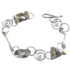 Modernist Sterling Silver Link Vintage Bracelet