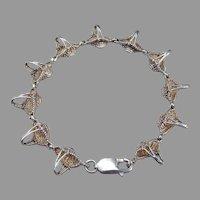 Signed Vintage Sterling Silver Figural 2-D BASKET Link Bracelet
