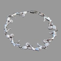 Signed MY WAY Sterling Silver Cheerleader Vintage Link Bracelet
