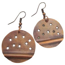 Stamped Solid Copper Round Dangle Earrings