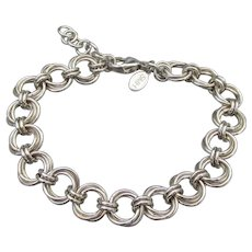 Heavy Argentinium Sterling Silver Double Round Link Bracelet