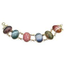 Large Signed RUSSEL Gold-Filled Gemstone Vintage Egyptian Revival Scarab Bracelet