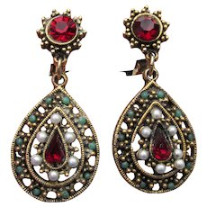 Signed ART Vintage 1960's Victorian Revival Rhinestone Dangle Earrings