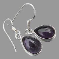 Sterling Silver & Amethyst Cabochon Teardrop Pierced Dangle Vintage Earrings