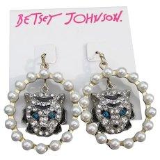 Betsey Johnson Retired CAT Head Faux Pearl & Rhinestone Dangle Earrings, New on Card