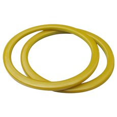 Pair Flat Yellow Genuine BAKELITE Vintage Bangle Bracelets