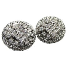 Signed HOBE' Vintage Layered Sparkling Rhinestone Button Earrings