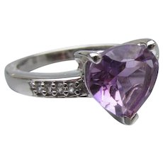 Pretty Sterling Silver Heart Shaped Amethyst Solitaire Ring, Size 7