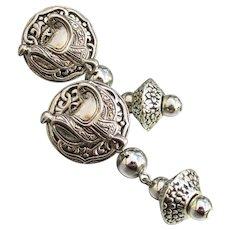 Vintage 1980's Silver Tone Dangle Western SADDLE Pierced Earrings