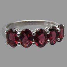 Sterling Silver & Five Oval Garnets Band Ring, Size 7
