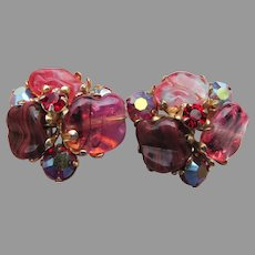Signed VOGUE Vintage 1960's Red Rhinestone & Molded Glass Earrings