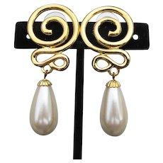 Long 1980's Vintage Faux Pearl Pierced Earrings