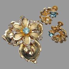 Pretty 1940's Retro Blue Rhinestone Flower Pin & Earrings