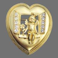 Trifari Vintage Heart Shaped Cherub in Window Rhinestone Pin