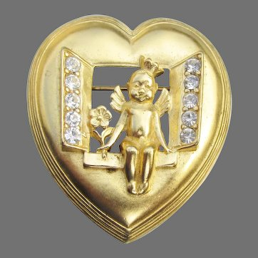 Trifari Vintage Heart Shaped Cherub in Window Rhinestone Pin
