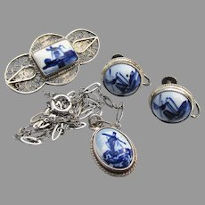 Vintage 835 Silver Filigree Delft Pottery Holland Pin, Necklace, Earrings Set