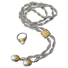 Silver Tone Mesh Chain & Faux Pearl Long Lariat Necklace & Ring Set