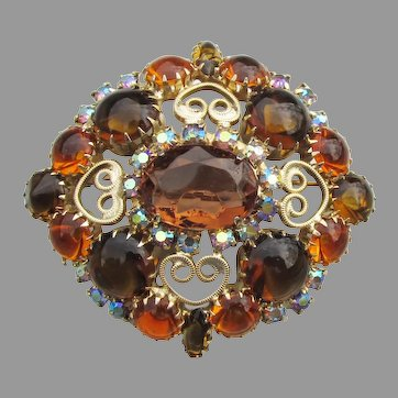 Juliana D & E Large Amber Rhinestone Wire HEART Scroll Pin