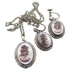 Exquisite Vintage Mother-of-Pearl Cameo Necklace & Earrings Argentate Silver Set