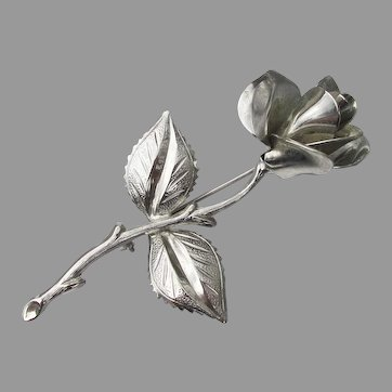 Vintage 1960's Long Stemmed ROSE Pin