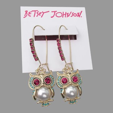 Retired Betsey Johnson Long Dangle OWL Rhinestone Earrings