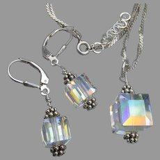 Swarovski Aurora Borealis CUBE Crystal Bead Sterling Silver Necklace & Earrings Set
