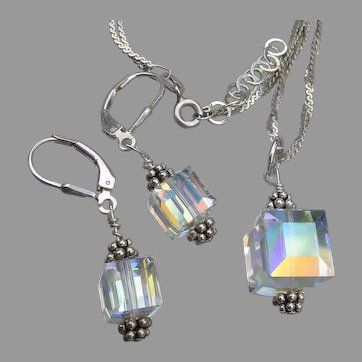 Swarovski Aurora Borealis CUBE Crystal Bead Sterling Silver Necklace & Earrings Set