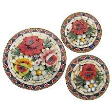 Vintage Italian Micro Mosaic FLOWER Pin & Earrings Set